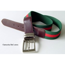 Cinturón lona elastica verde Ref. 2001